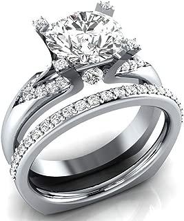 Wogo 2PC Womens Vintage White Diamond Silver Engagement Wedding Band Ring Set