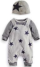 Dragon868 Conjuntos de Ropa, 3pcs bebé Rayas recién Nacidos Camiseta y Pantalones Babero Conjunto Sombreros