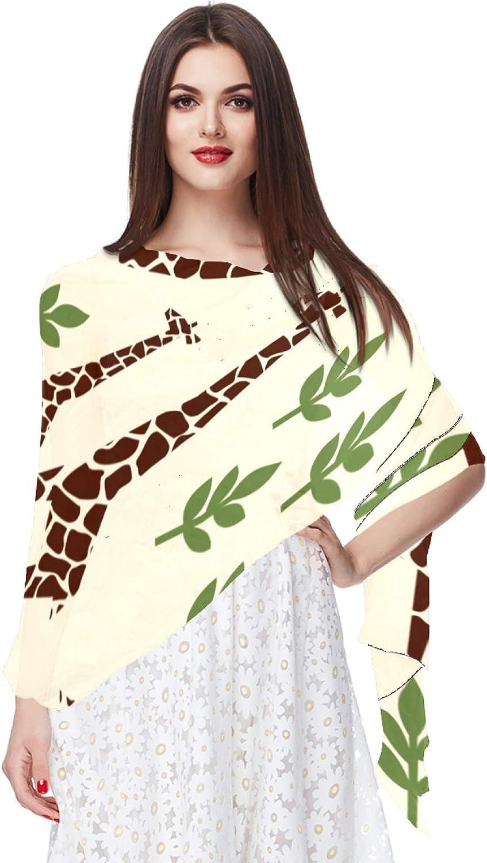 Safari Animal Giraffes Family Women Soft Chiffon Pashmina Shawl Wrap Scarf for Bridesmaid Wedding Formal Party Evening Dress