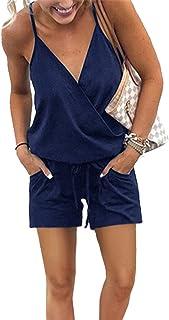 PRETTYGARDEN Women's Summer Casual V Neck Adjustable Spaghetti Strap Waist Drawstring Short Jumpsuit Rompers with Pockets