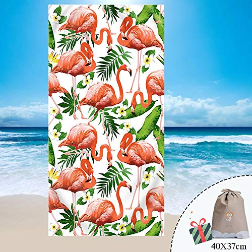 Fansu Telo Spiaggia Antisabbia Microfibra Grande Assorbente Serie di Fenicotteri Rosa, Rettangolo Beach Coperta da Spiaggia Tovaglia in Telo da Mare Nuoto, Sport, Yoga (150 * 180cm,Foglia)