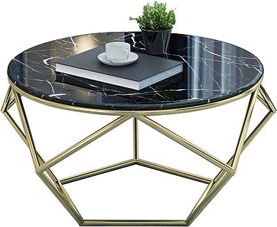 家、居間、食堂のための円形の大理石のコーヒーテーブル/サイドテーブルの金のトリムのソファーの端テーブル