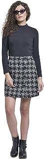 Martini Women Check Button Woolen Mini Skirt (Black, Size : 28-34)