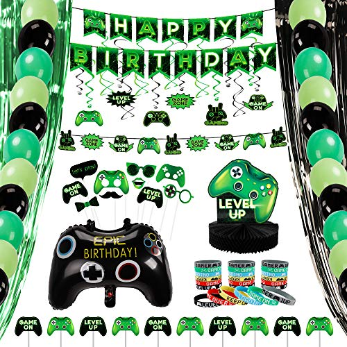 Decorlife Video Game Party Supplies - Birthday Decorations for Boys - Including Birthday Balloons, Game on Honeycomb Centerpiece, Pre-strung Banners, Party Backdrops, Cupcake Toppers, Hanging Swirls, Photo Booth Props, Bracelets Wristbands - 99PCS