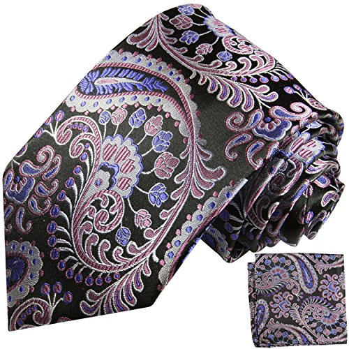 Schwarz lila paisley Krawatten Set 2tlg 100% Seidenkrawatte mit Einstecktuch