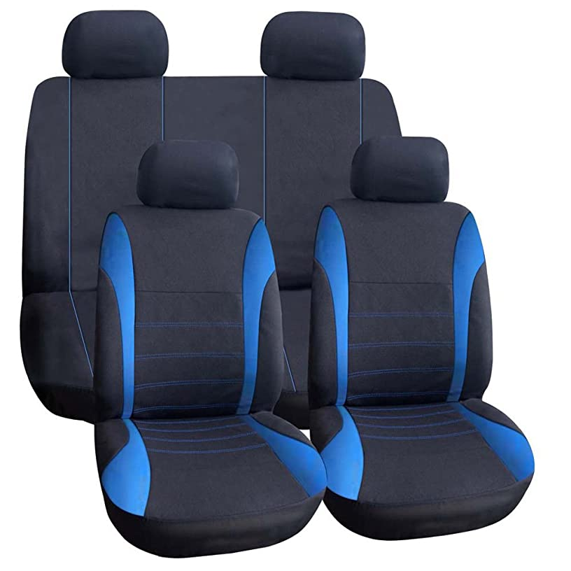TIROL Seat Covers Universal Rear Split Full Set Blue Airbag Compatible Bucket Seat Cover 9PCS For Most Car,SUV,trucks phv0887660381308