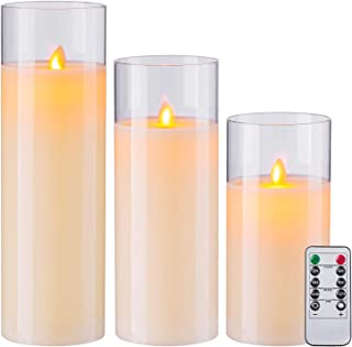 Aku Tonpa Flameless Candles Battery Operated Pillar Real Wax LED Glass Candle Sets with Remote Control Cycling 24 Hours Ti...