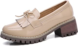 DADAWEN Women's Classic Tassel Slip-On Platform Mid-Heel Square Toe Oxfords Dress Shoes Orange Size: 9 US