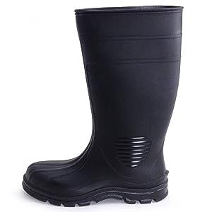 UltraSource 444106-9 Economy PVC Boots, Black, Steel Toe, Size 9
