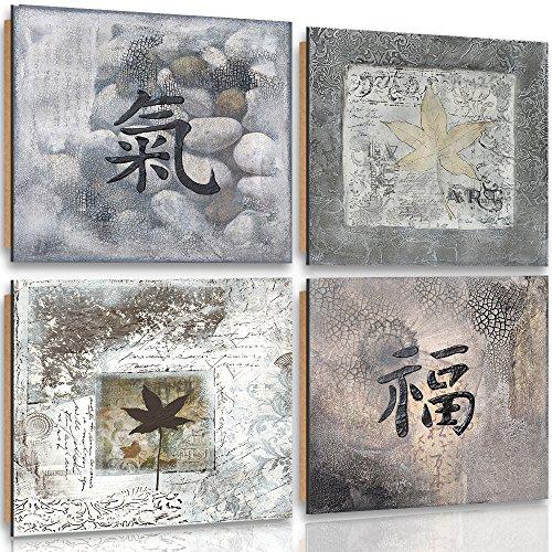 Feeby Frames, Cuadro de pared - 4 partes - Cuadro decorativo, Cuadro impreso, Deco Panel, 40x40cm, SIGNO CHINO, PIEDRAS, HOJAS, ZEN, GRIS