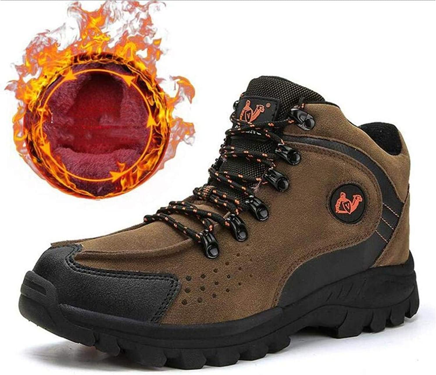 G'z Men's Hiking shoes, Mill Sand Winter High-Top Martins Boots Large Size Outdoor Climbing Sneakers Plus Cashmere Trekking Camping