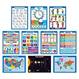 10 Laminated Educational Wall Posters for Kids - ABC - Alphabet, Solar System, USA & World Map, Numbers 1-100...