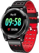 GOKOO Smart Watch for Men Women with Heart Rate Blood Pressure Sleep Monitor IP67 Waterproof Activity Tracker Notification Camera Music Control Red