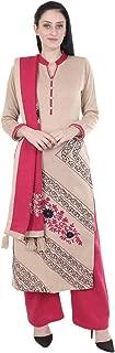 Rosary 3 Pc Set Of Winter Wear Woolen Kurta Palazzo And Heavy Wool Stole(Beige & Pink)