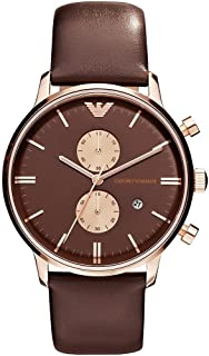 Emporio Armani Womens Quartz Watch, Analog Display and Leather Strap AR0387