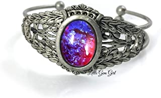 Renaissance Style Mexican Fire Opal Dragon's Breath Cuff Bracelet in Antique Pewter Red Blue Glass Stone