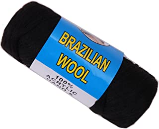 Brazilian Wool Hair For African Hair Braiding Sengalese Twisting Jumbo Braids/Crochet Faux Locs/Wraps/Dreadlocks (Black)