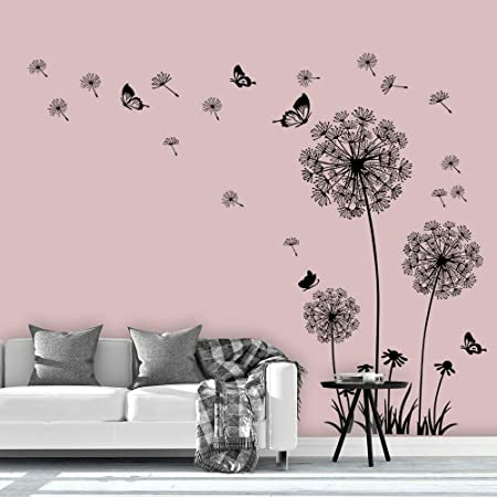 Supzone Dandelion Wall Stickers Flower Wall Decals Butterflies Flying Wall Decors Wall Art Stickers for Bedroom Living Room Sofa Backdrop TV Wall Decoration