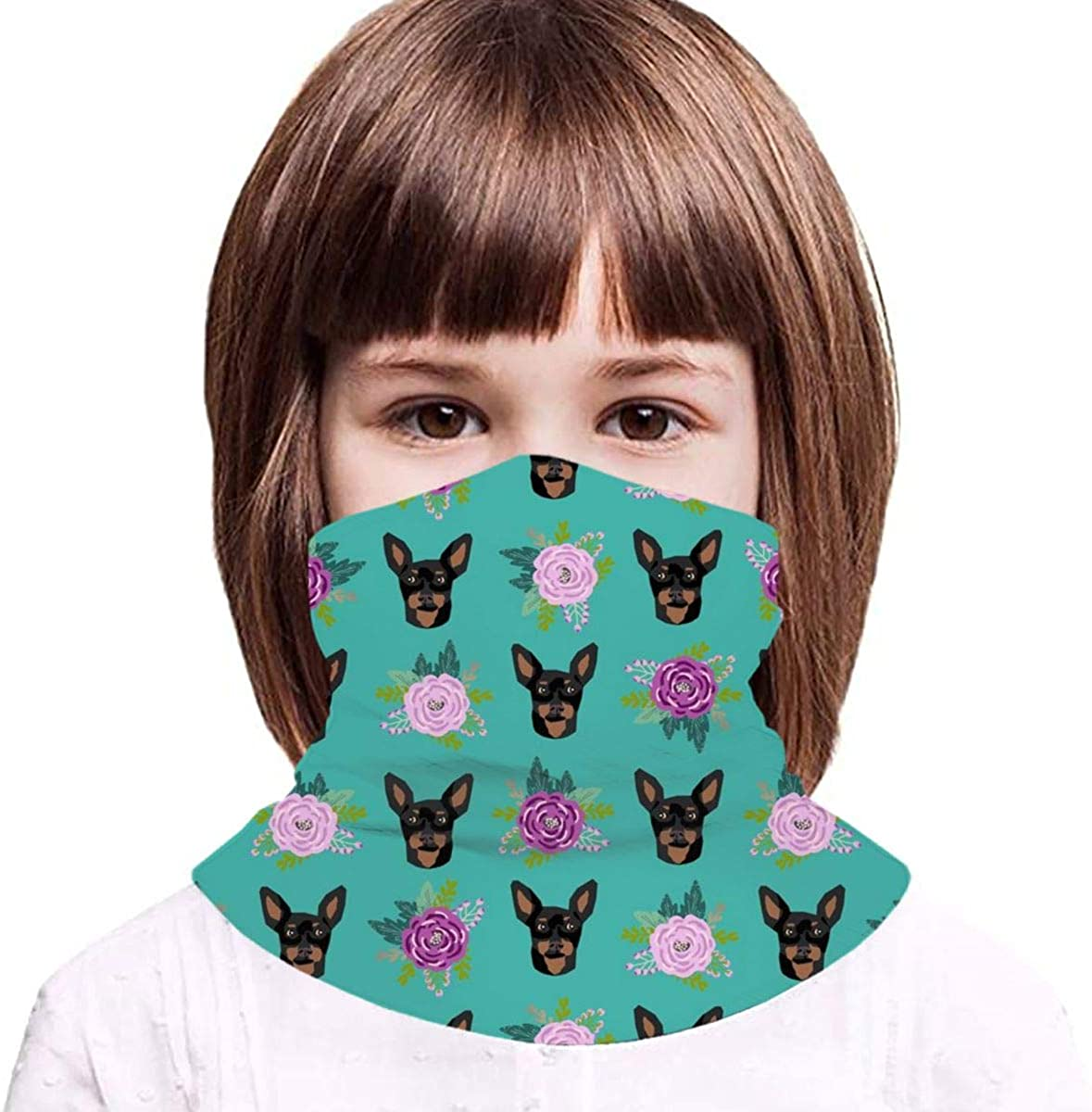 Min Pin Floral Miniature Pinscher Dog Design Kids Face Mask Dust Sun UV Protection Neck Gaiter Balaclava Face Cover Scarf Summer Breathable for Cycling Fishing Outdoors