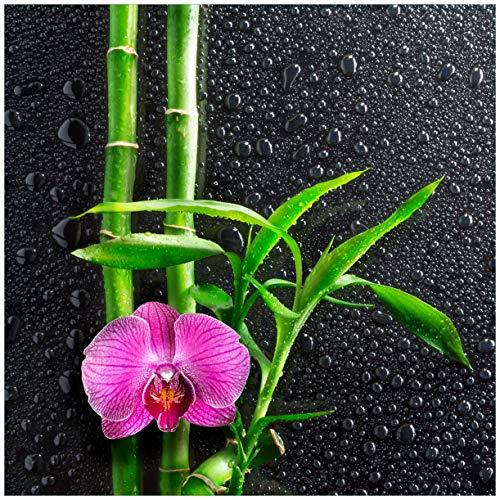 Wallario Möbeldesign/Aufkleber, geeignet für IKEA Lack Tisch - Bambus und Pinke Orchidee auf schwarzem Glas mit Regentropfen in 55 x 55 cm