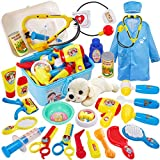 Buyger 26 PCS Play Vet Set for Kids Doctor Dress Up Pet Dog Care Role Play Toy with Carry Case