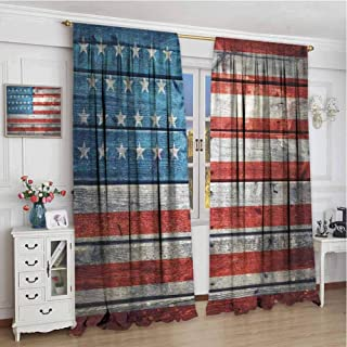 GUUVOR Rustic American USA Flag Blackout Curtain July Independence Day Weathered Antique Wooden Looking National Celebration Image 2 Panel Sets W96 x L84 Inch