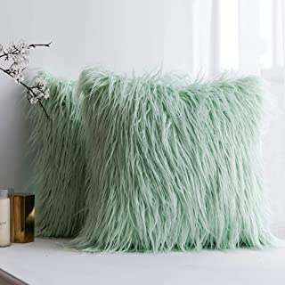MIULEE Pack of 2 Decorative New Luxury Series Style Mint Green Faux Fur Throw Pillow Case..