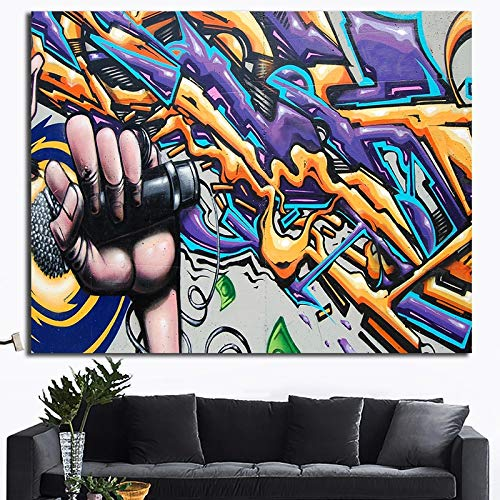 ganlanshu Abstraktes Graffiti-Leinwandwandkunstplakatplakat und Hauptdekoration des Druckkünstlers,Rahmenlose Malerei,70X126cm