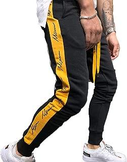 Franhais Mens Gym Jogger Pants Striped Patchwork Running...