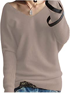 Kancystore Women's Casual V-Neck Batwing Long Sleeve Loose Knit Pullover Sweater Tops