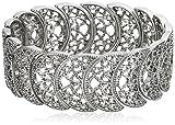 1928 Jewelry 'Vintage Lace' Silver-Tone Half-Circle Filigree Stretch Bracelet, 9'