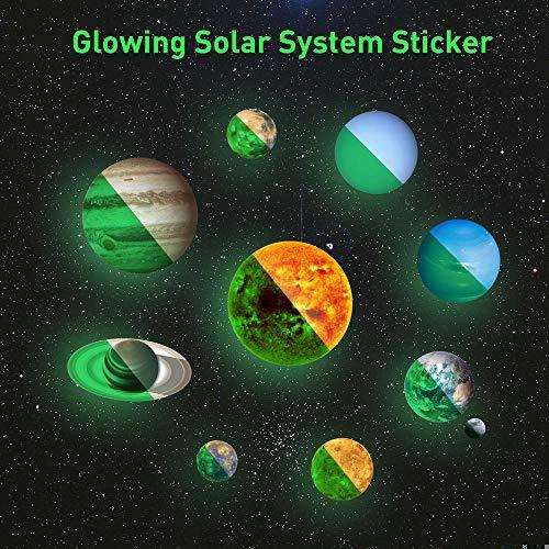 Demosky 10-Planeten Wandsticker Leuchtaufkleber Leuchtsticker Sonne Erde fluoreszierend Wandaufkleber Hausdekoration Buchstabesticker für Kinderzimmer Wohnzimmer