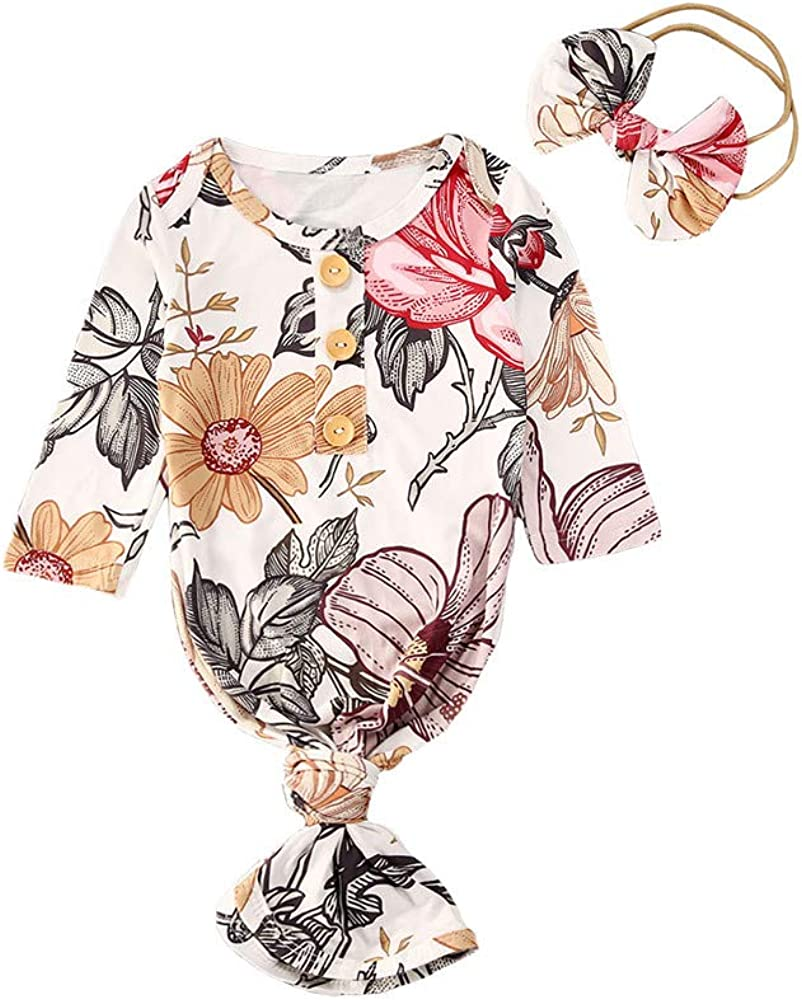 Infant Newborn Baby Girls Floral Sleep Gown Headband Sleepwear Romper Sleeping Bags Outfits