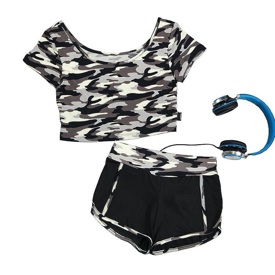 適応ブロックそれら迷彩運動健身セット女性 タイト短袖二着運動ズボン二着セット 迷彩スポーツウェア