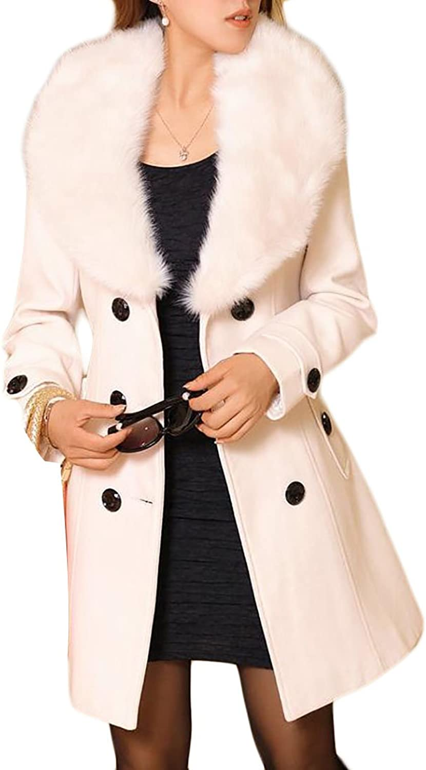 Pandapang Womens Solid Faux Fur Collar DoubleBreasted Warm Overcoat Pea Coat