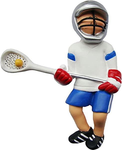 Personalized Lacrosse Boy Christmas Tree Ornament 2019 Man Athlete In White Uniform Helmet Stick Ball Male Coach Hobby High School Catcher Shooter Profession Free Customization