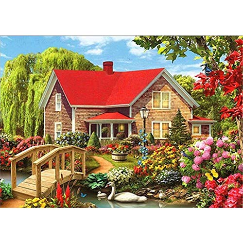 Diamant Painting Kit DIY 5D Kristall Strass Stickerei Arts Craft für Waldhaus Garten Diamond Painting Deko Mit Kleben Diamant Full Set Kreuzstich Wandde koration X5460 Square Diamond,30cmx40cm