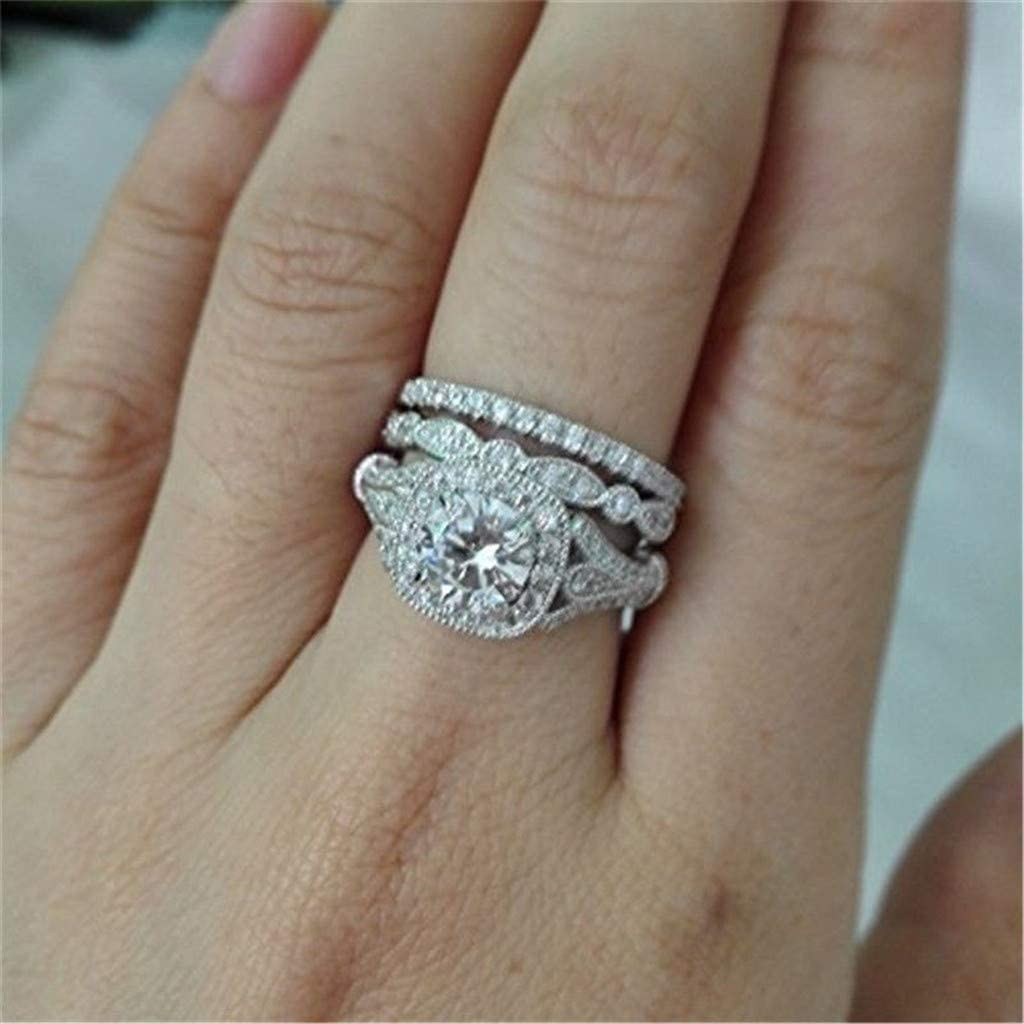 Zircon Three-Piece Ring, European and American Inlaid Hearts and Arrows Full Diamond Wedding Ring Set, Zirconia Wedding Band Ring Engagement Jewelry for Women Girlfriend Gift