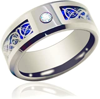 Gnex 6/8mm Blue Silver Tungsten Celtic Wedding Band Eternity Couples Ring Jewelry Pouch