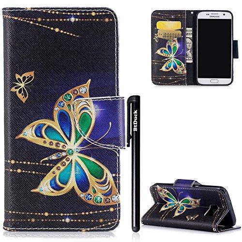 BtDuck Kompatibel mit Handyhülle Samsung Galaxy S7 Hülle Leder Slim Silikon Cover Innere mit Standfunktion Kartenfächer Tasche Magnet Schmetterling Muster Brieftasche Flip Schutzhülle Galaxy S7