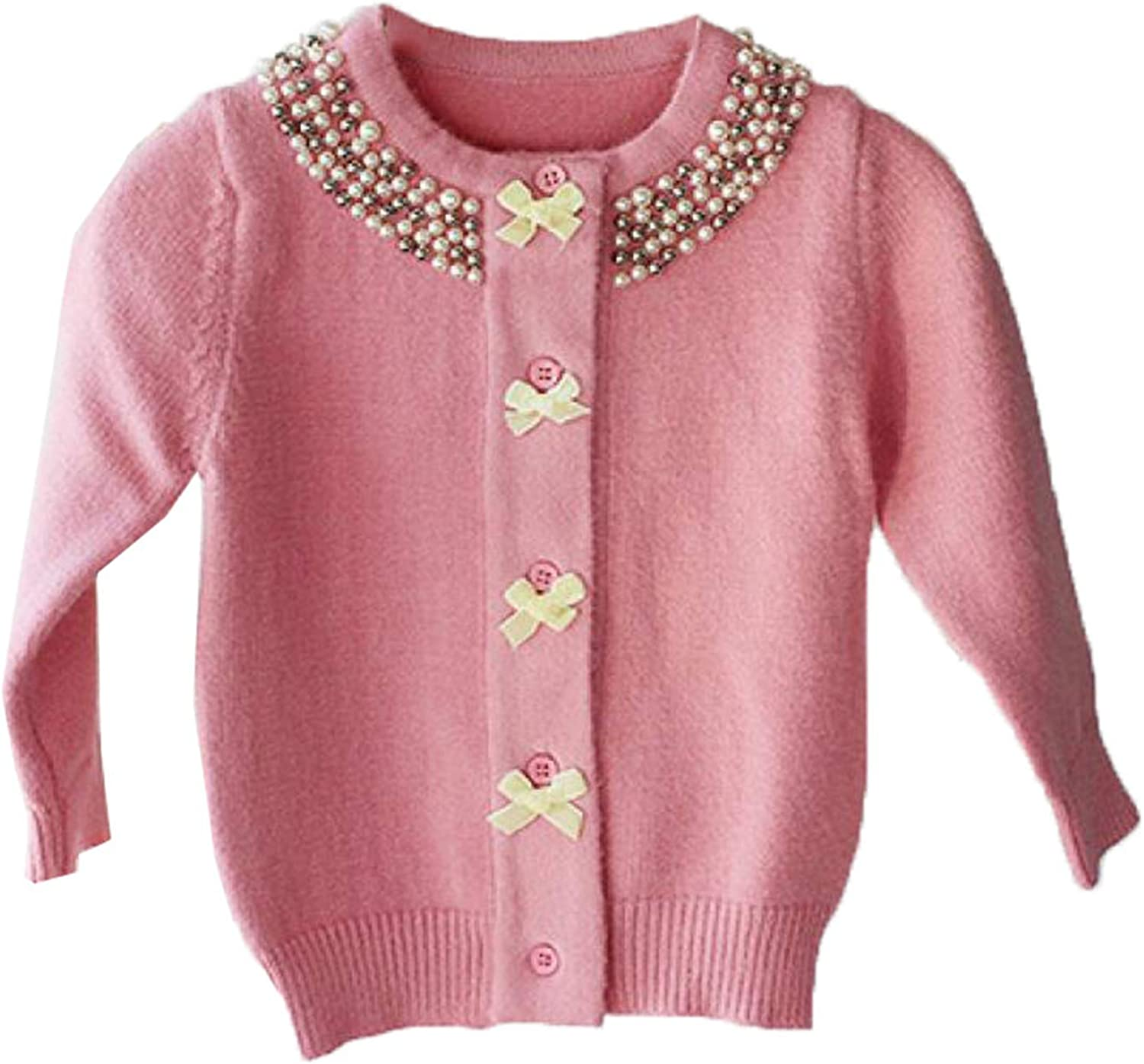 Autumn Christmas Coat for Girls Sweater Kids Cardigan Woolen Children Sweater Knitted Bow Pearl Girls Clothes
