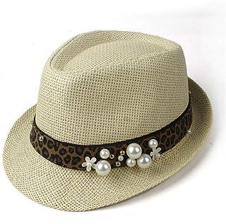 2019 Women Womens Summer Hat for Women Beach Sun Hat Elegant Lady Travel Fedora Pearl Panama Sunbonnet Sunhat Size 57CM Ladies Fashion Casual Lightweight (Color : Tan, Size : 57CM)