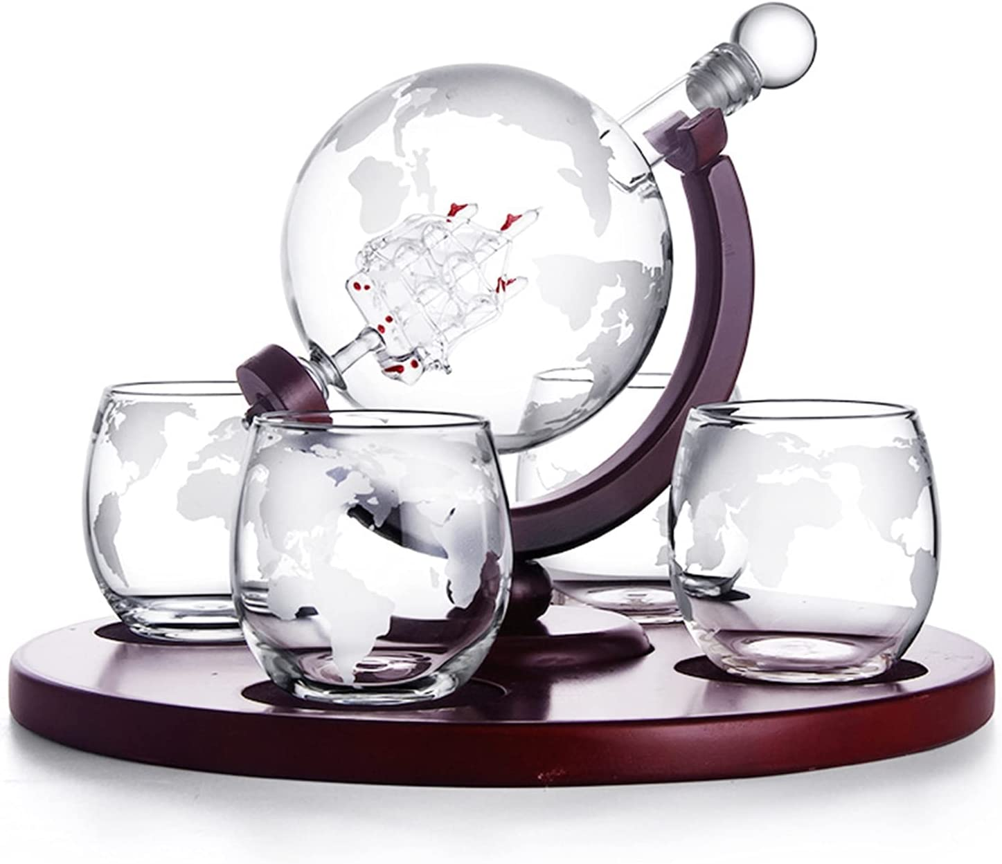 OFFer Believesinkinto Whiskey Decanter Globe Set 4 Etched W Sale with