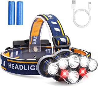 MOSFiATA Headlamp, Headlight 13000 Lumen 8 LED 8 Modes 18650 USB Rechargeable Waterproof..