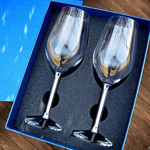 ZJDK Copa de Vino Tinto Juego de Vino de Diamantes de Cristal Caja de Regalo para el hogar Pies Altos Regalo Grande 350Ml, 2 Cajas de Regalo
