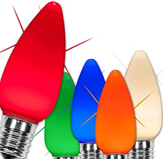 Wintergreen Lighting OptiCore C9 LED Christmas Light Bulbs - Replacement LED Christmas Lights Heavy Duty Premium Outdoor Christmas Lights, E17 Base (Box of 25) (Multicolor Smooth Twinkle Bulbs)
