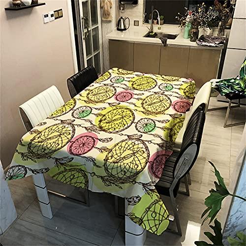 Mantel con Patrón Digital 3D Decoración De Sala De Estar En Casa Rectangular Poliéster Impermeable Mantel De Cocina Fiesta En Casa Decoración Navideña Exterior E Interior 90x90cm