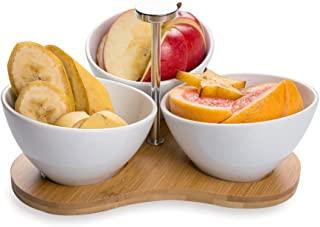 """Porcelain Incline Bowl Set with Tray - Three 4"""" bowls with Rustic Bamboo Tray - Great for Parties or Serving Snacks - Whit..."""