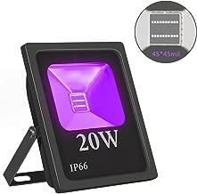 Exulight UV LED Flood Light, 20W High Power UV Ultraviolet Black Lights 85V-265V AC IP66 Waterproof for Parties,Curing, Glue, Blacklight, Fishing, Aquarium with US Plug (20)