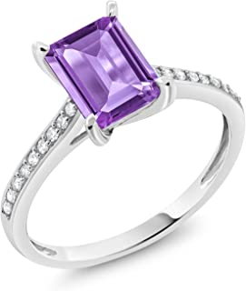 10K White Gold Purple Amethyst and White Diamond Engagement Ring 1.63 Ctw Emerald Cut (Available 5,6,7,8,9)